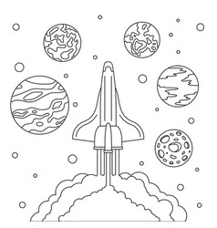 fly space ship concept background outline style vector image
