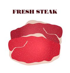 Fresh steak pork slice of meat in flat style vector