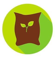 Garden bag with plant seeds circle icon vector