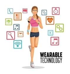 Girl cartoon and wearable technology design vector
