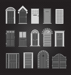 grey front house doors isolated on transparent vector image