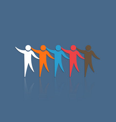 Group of people touching each other concept for vector