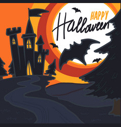 halloween castle bat concept background hand vector image