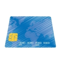 Hand draw blue credit card pay bank transaction vector