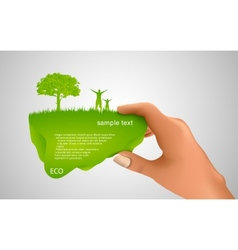 hand holding a green bubble vector image
