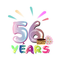 happy birthday 56 years vector image