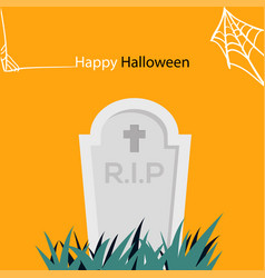 happy halloween spider web and gravestone i vector image