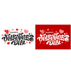 happy valentines day lettering with cupid vector image