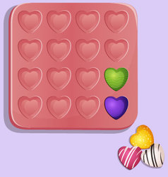 Heart shaped candy molds vector