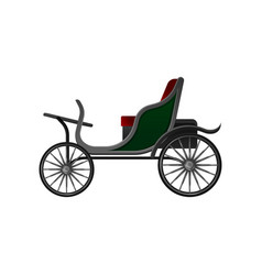 Horse-drawn open carriage with small green cab vector