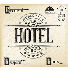 Hotel typography vector image