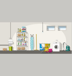 Interior equipment of a basement panorama vector