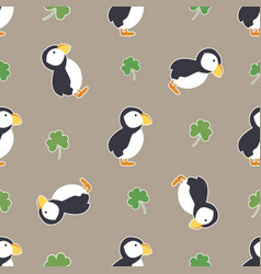 Irish shamrock clovers puffins pattern vector