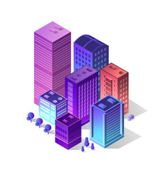 isometric city of violet vector image