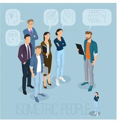 Isometric people communicating vector