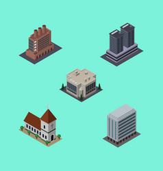 isometric urban set of tower chapel office and vector image