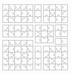 jigsaw puzzle templates on white background vector image