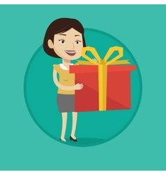 Joyful caucasian woman holding box with gift vector image