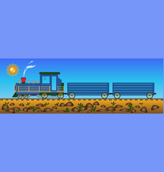 Locomotive blue riding in the desert with cactuses vector