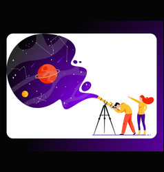 Man and woman with telescope in search of a star vector