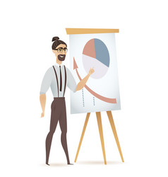 man freelancer pointing flip chart with diagram vector image