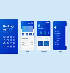 mobile banking online smartphone app blue color vector image