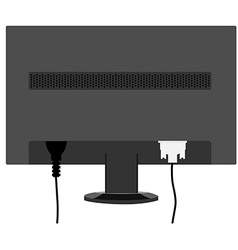 Monitor back view vector