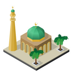 mosque minaret and palm trees in isometric view vector image