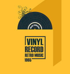music poster with vinyl record in retro style vector image