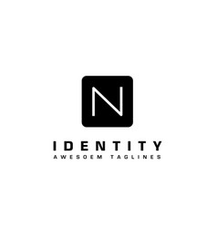 n letter square tech logo vector image