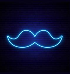 neon blue mustache icon on dark brick wall vector image