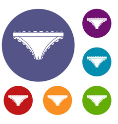 Panties with frill icons set vector