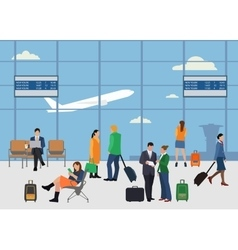 People in airport flat style design Man and woman vector