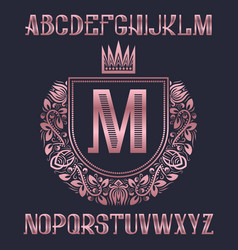 pink golden letters with coat of arms template vector image