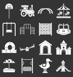 Playground icons set grey vector