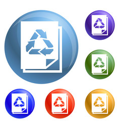 Recycle paper icons set vector