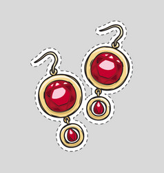 Red diamond brilliant earrings beautiful accessory vector