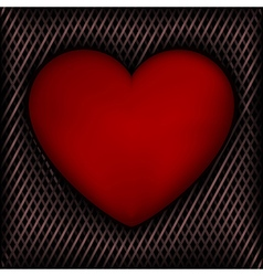 Red heart on dark background intertwined line vector