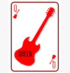 Red horned guitar queen vector
