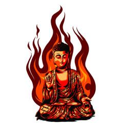 religious icon buddha statue golden vector image