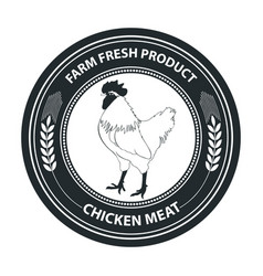 retro styled badge with chicken vector image