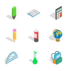 school equipment icons isometric 3d style vector image vector image