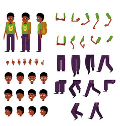 Schoolboy creation set - little african boy with vector