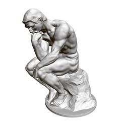 Sculpture thinker 3d statue a seated man vector
