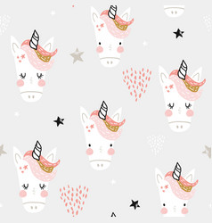 seamless pattern with cute fairy unicorns heads vector image