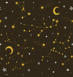seamless star pattern with moon vector image