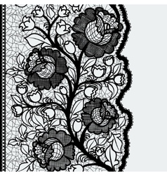 Seamless vertical lace ribbon with unusual floral vector