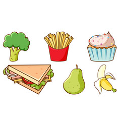 Set fresh food and sweets on white background vector
