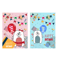 Set of happy birthday cards design for one year vector
