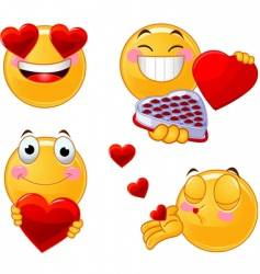 set of valentines smileys emoticons vector image
